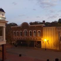 Jonesborough at dusk from the balcony of the Storytelling Center.