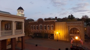 Jonesborough at dusk from the balcony of the Storytelling Center.