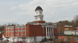 "The Washington County Courthouse. The back portion of the building once housed the jail. It has now been renovated and is the ""Archives Annex,"" an area used to house county records."
