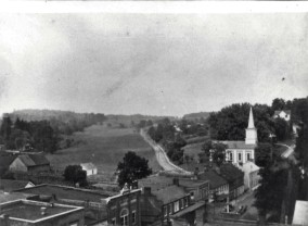 Early Jonesborough, showing the Baptist Church and Boone Street.