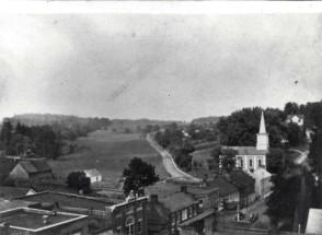 Early Jonesborough, showing the Baptist Church and Boone Street.