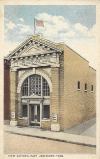 The First National Bank of Jonesborough was built in 1915, and later was known as the First People's Bank. It was renovated in 2015-16 for the county archives, and the building now houses the oldest public records in Tennessee.