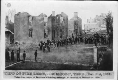 Downtown Jonesboro after a fire on December 31, 1873 destroyed many buildings.