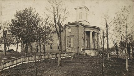 Jonesboro High School, around 1890 - the front portion was built around 1845 and the back part of the building was added in 1885. The building was torn down in 1925.