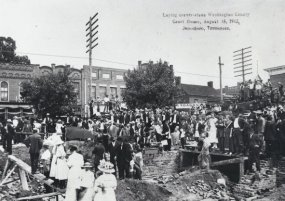 Laying the cornerstone for the new courthouse, August 15, 1912.