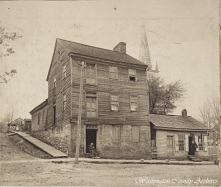 """The """"Manumission Intelligencer"""" and """"The Emancipator"""" building, located on Main Street in Jonesborough. These two newspapers were the first abolition publications in America and were published in this building by Elihu Embree, beginning in 1819."""
