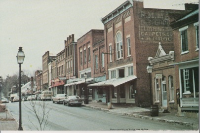 Jonesborough looking west on Main Street. Postcard undated.
