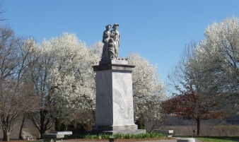 Massengill Historical Monument now located in Winged Deer Park, near the ball fields.