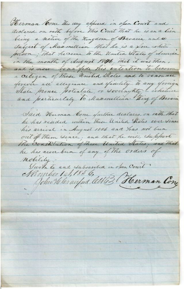 Cone, Herman - Citizenship declaration 1 lighter