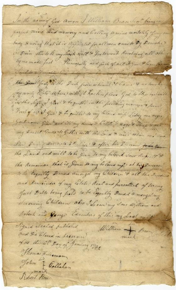 Bean, William, Sr. 1782 website
