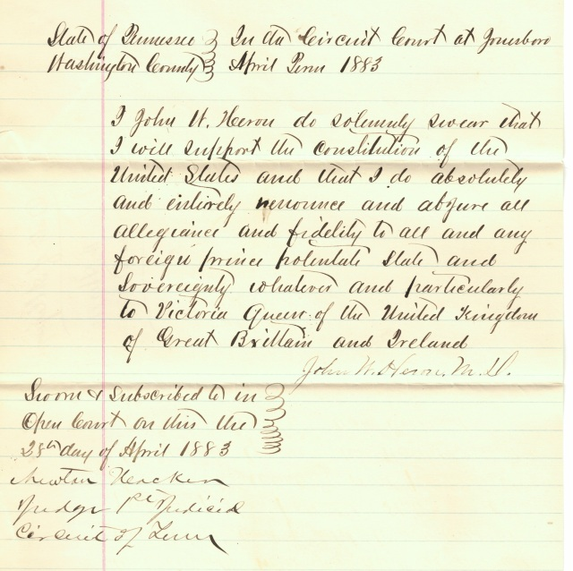 Herron, John H. - naturalization document 2